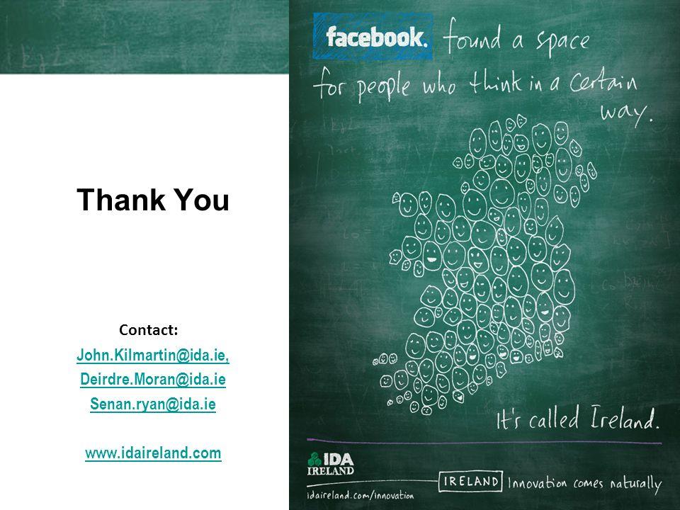 Thank You Contact: John.Kilmartin@ida.ie, Deirdre.Moran@ida.ie Senan.ryan@ida.ie www.idaireland.com