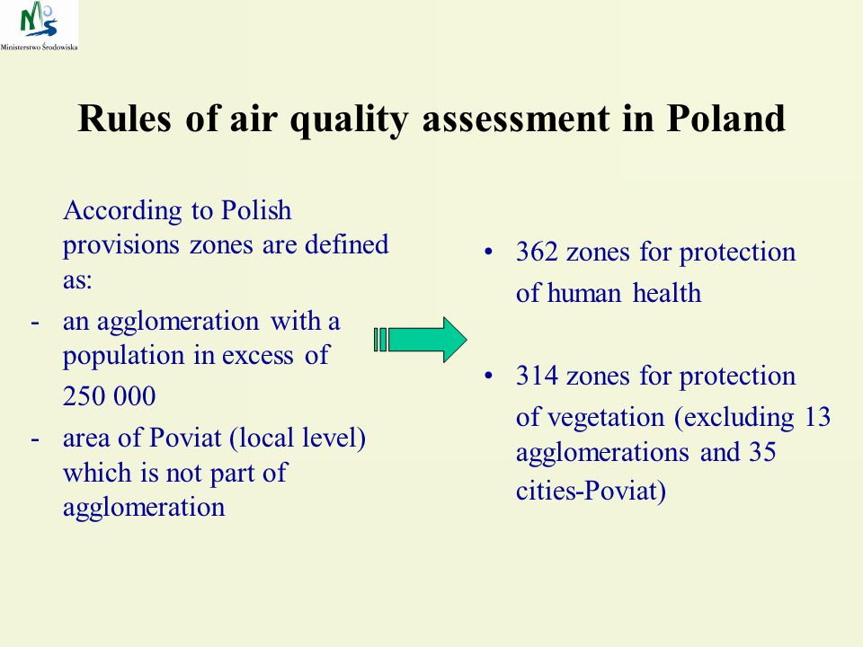 Rules of air quality assessment in Poland According to Polish provisions zones are defined as: -an agglomeration with a population in excess of area of Poviat (local level) which is not part of agglomeration 362 zones for protection of human health 314 zones for protection of vegetation (excluding 13 agglomerations and 35 cities-Poviat)
