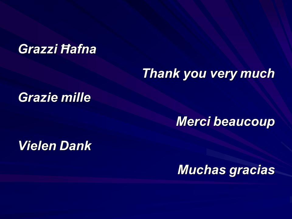 Grazzi Ħafna Thank you very much Grazie mille Merci beaucoup Vielen Dank Muchas gracias