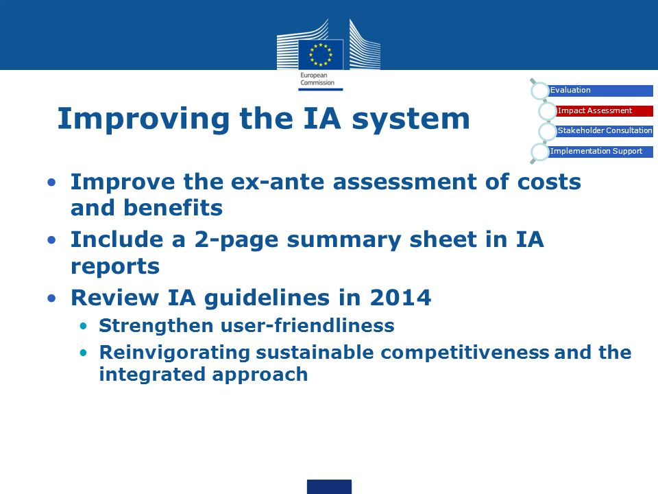 Improving the IA system Evaluation Impact Assessment Stakeholder Consultation Implementation Support Improve the ex-ante assessment of costs and benef
