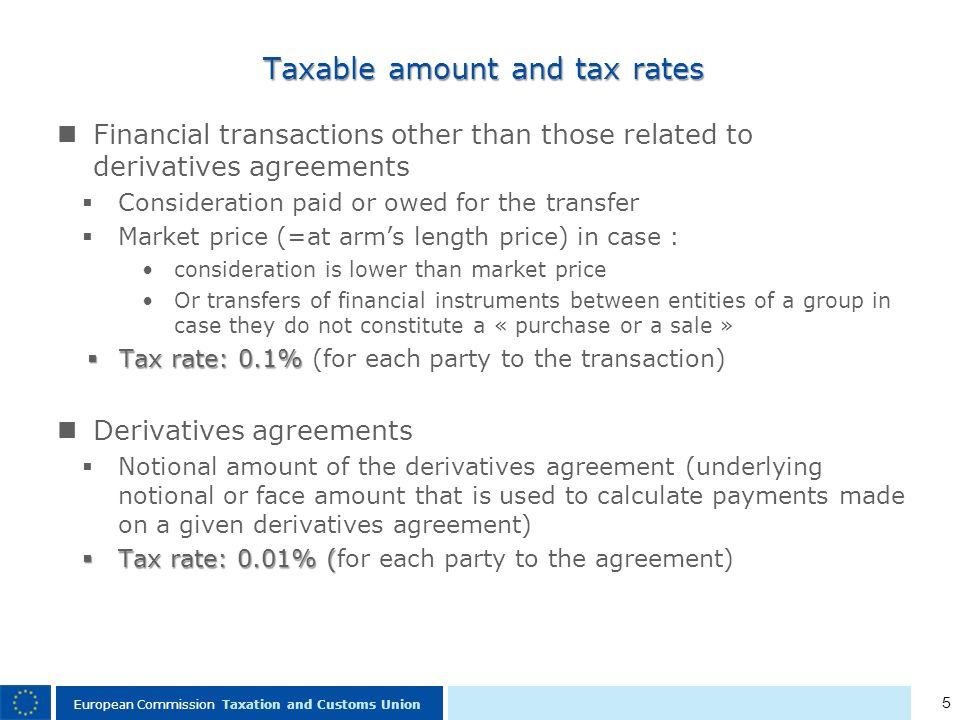 5 European Commission Taxation and Customs Union Taxable amount and tax rates Financial transactions other than those related to derivatives agreements Consideration paid or owed for the transfer Market price (=at arms length price) in case : consideration is lower than market price Or transfers of financial instruments between entities of a group in case they do not constitute a « purchase or a sale » Tax rate: 0.1% Tax rate: 0.1% (for each party to the transaction) Derivatives agreements Notional amount of the derivatives agreement (underlying notional or face amount that is used to calculate payments made on a given derivatives agreement) Tax rate: 0.01% ( Tax rate: 0.01% (for each party to the agreement)