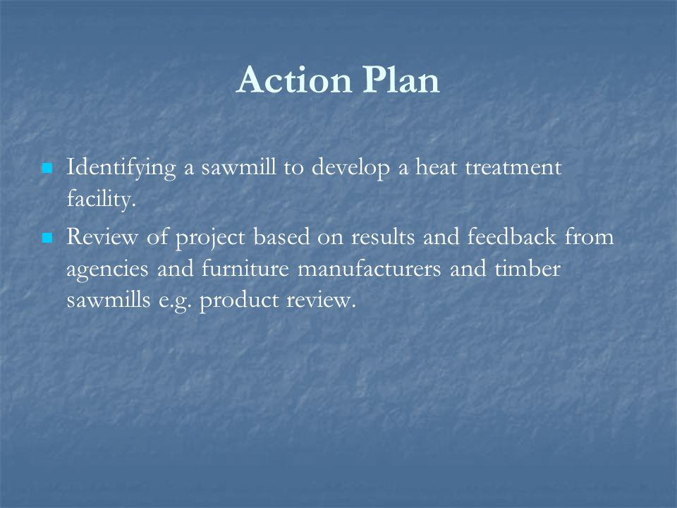 Action Plan Identifying a sawmill to develop a heat treatment facility.