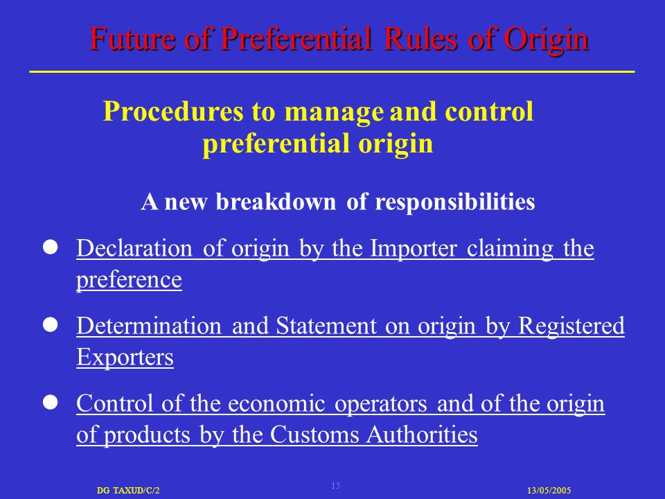 15 DG TAXUD/C/213/05/2005 Future of Preferential Rules of Origin A new breakdown of responsibilities Declaration of origin by the Importer claiming the preference Determination and Statement on origin by Registered Exporters Control of the economic operators and of the origin of products by the Customs Authorities Procedures to manage and control preferential origin