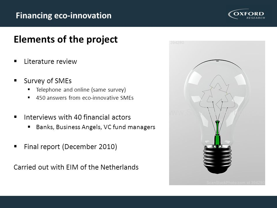 Financing eco-innovation Elements of the project Literature review Survey of SMEs Telephone and online (same survey) 450 answers from eco-innovative SMEs Interviews with 40 financial actors Banks, Business Angels, VC fund managers Final report (December 2010) Carried out with EIM of the Netherlands