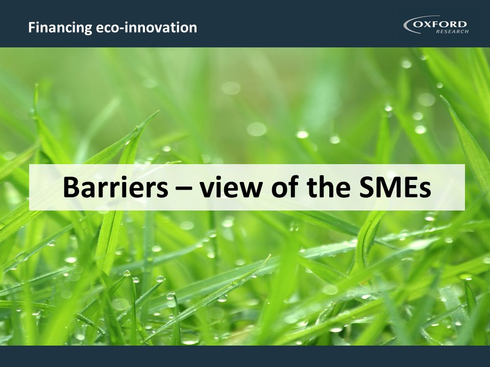 Financing eco-innovation Barriers – view of the SMEs