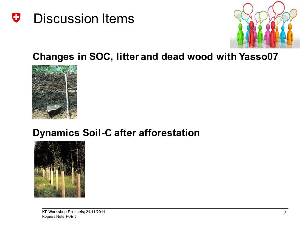 4 KP Workshop Brussels; 21/11/2011 Rogiers Nele, FOEN Changes in SOC, litter and dead wood with Yasso07 Until Submission 2011: Tier 1-Approach Forest floor is not source; Changes = 0 In country Review LULUCF and EPR -> provide evidence and use model or measurements Yasso07-Modelling experiment Results will be used for CP1 and FMRL Yasso07-Seminar (October 4 th, WSL Switzerland) Parameter Initialization Scenarios Validation Uncertainty Application