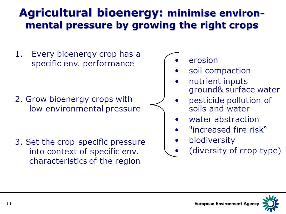 11 Agricultural bioenergy: minimise environ- mental pressure by growing the right crops 1.Every bioenergy crop has a specific env.