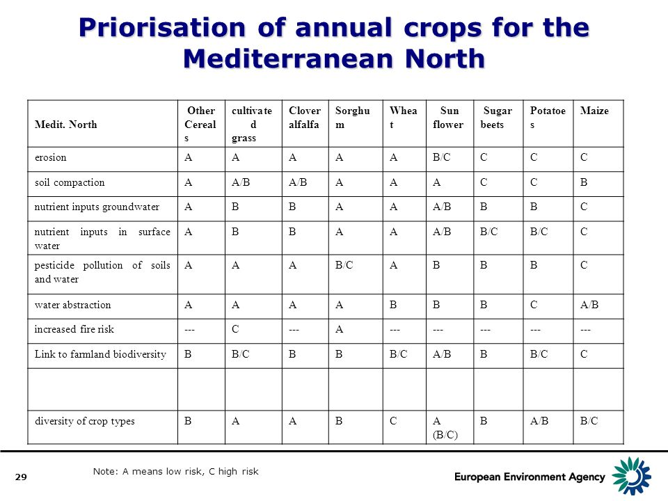 29 Priorisation of annual crops for the Mediterranean North Medit.