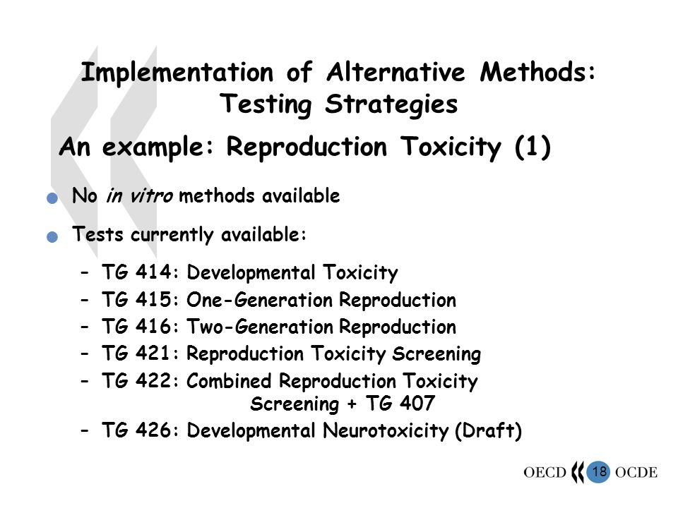 18 Implementation of Alternative Methods: Testing Strategies An example: Reproduction Toxicity (1) No in vitro methods available Tests currently available: –TG 414: Developmental Toxicity –TG 415: One-Generation Reproduction –TG 416: Two-Generation Reproduction –TG 421: Reproduction Toxicity Screening –TG 422: Combined Reproduction Toxicity Screening + TG 407 –TG 426: Developmental Neurotoxicity (Draft)