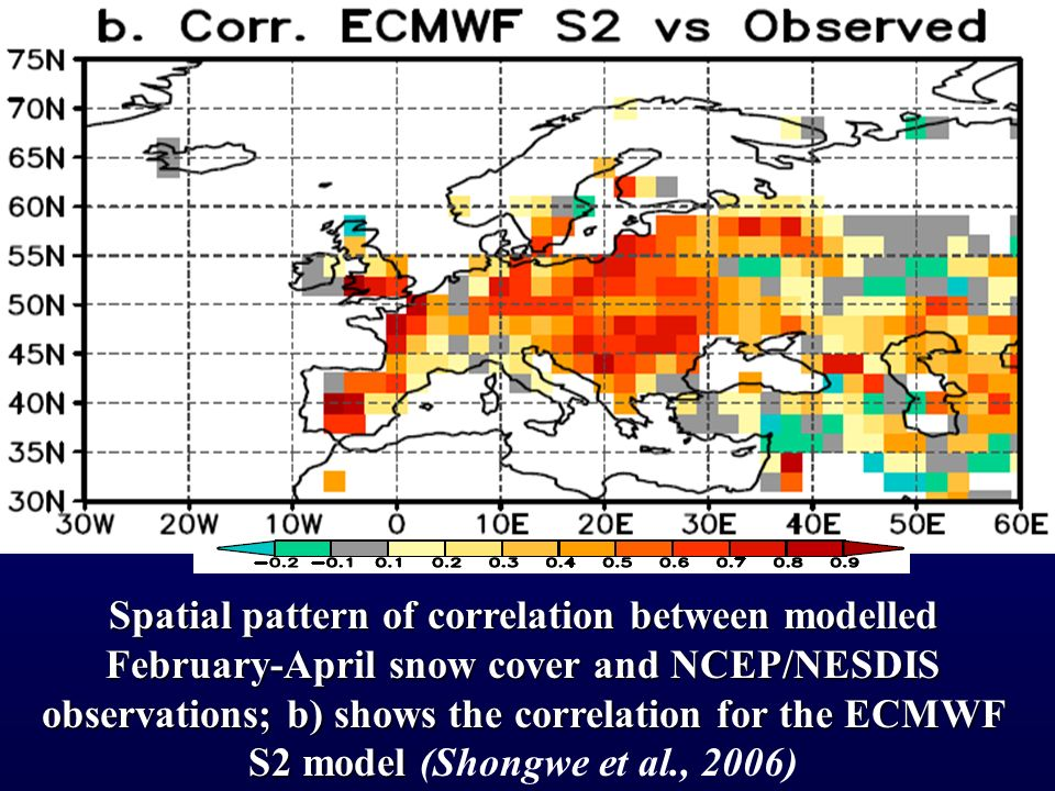 Spatial pattern of correlation between modelled February-April snow cover and NCEP/NESDIS observations; b) shows the correlation for the ECMWF S2 model Spatial pattern of correlation between modelled February-April snow cover and NCEP/NESDIS observations; b) shows the correlation for the ECMWF S2 model (Shongwe et al., 2006)