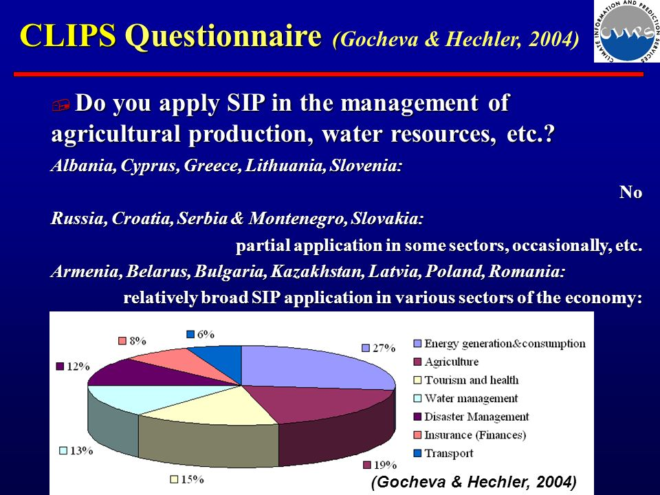 CLIPS Questionnaire ( CLIPS Questionnaire (Gocheva & Hechler, 2004) Do you apply SIP in the management of agricultural production, water resources, etc..