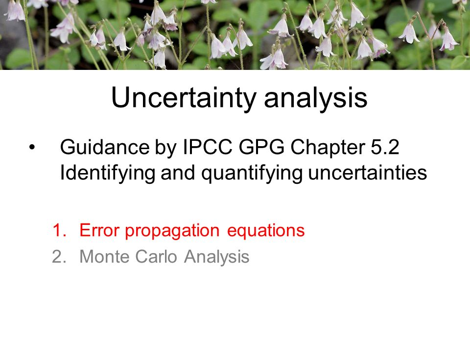 Uncertainty analysis Guidance by IPCC GPG Chapter 5.2 Identifying and quantifying uncertainties 1.Error propagation equations 2.Monte Carlo Analysis