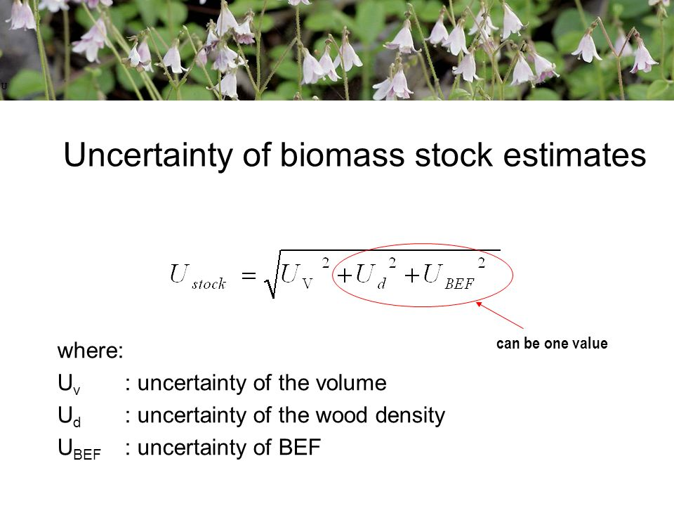 Uncertainty of biomass stock estimates can be one value where: U v : uncertainty of the volume U d : uncertainty of the wood density U BEF : uncertainty of BEF