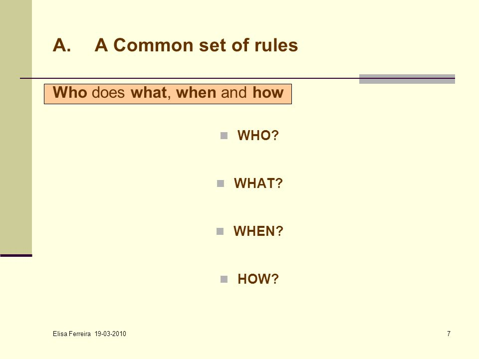 Elisa Ferreira 19-03-2010 7 Who does what, when and how WHO? WHAT? WHEN? HOW? A.A Common set of rules