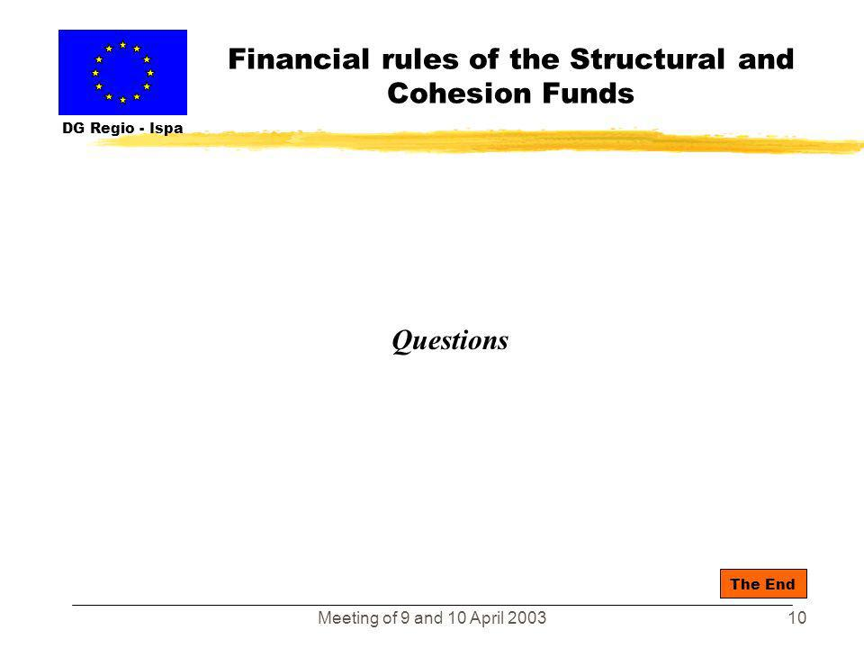 Meeting of 9 and 10 April 20039 Financial rules of the Structural and Cohesion Funds DG Regio - Ispa Summary - the crucial role of the managing author