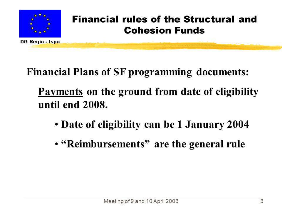 Meeting of 9 and 10 April 20032 Financial rules of the Structural and Cohesion Funds DG Regio - Ispa Financial Plans of SF programming documents: Comm