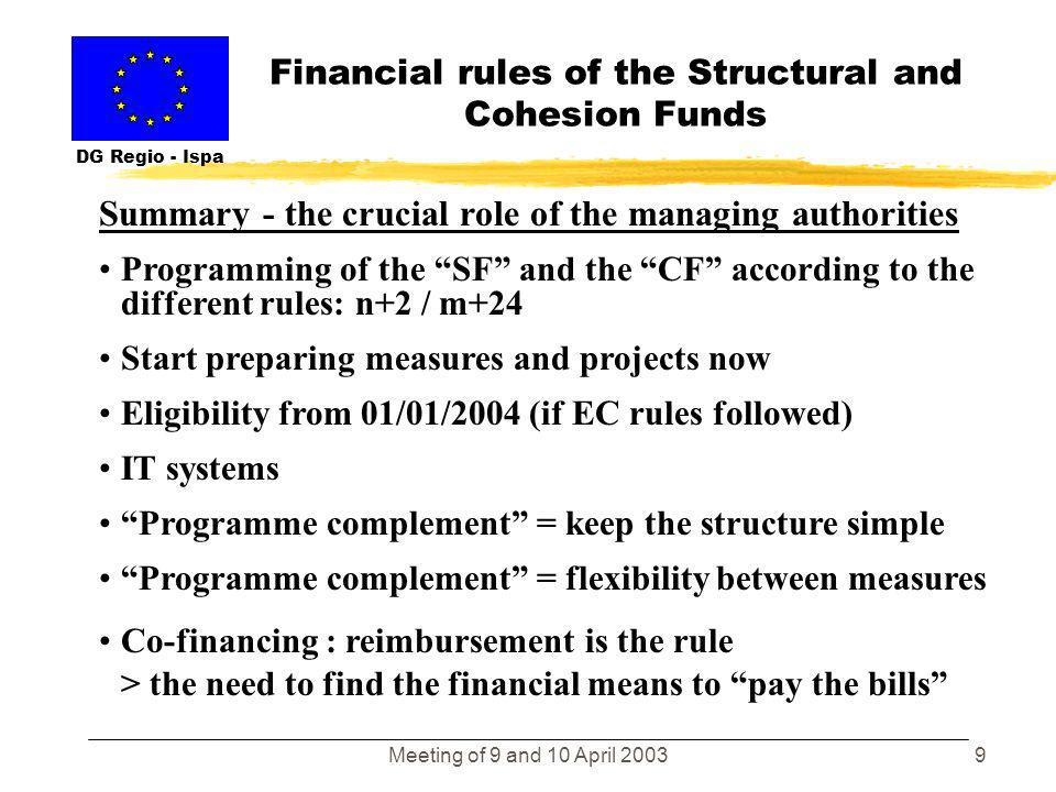 Meeting of 9 and 10 April 20038 Financial rules of the Structural and Cohesion Funds DG Regio - Ispa Article C § 5 of the Annex of the Cohesion Fund R