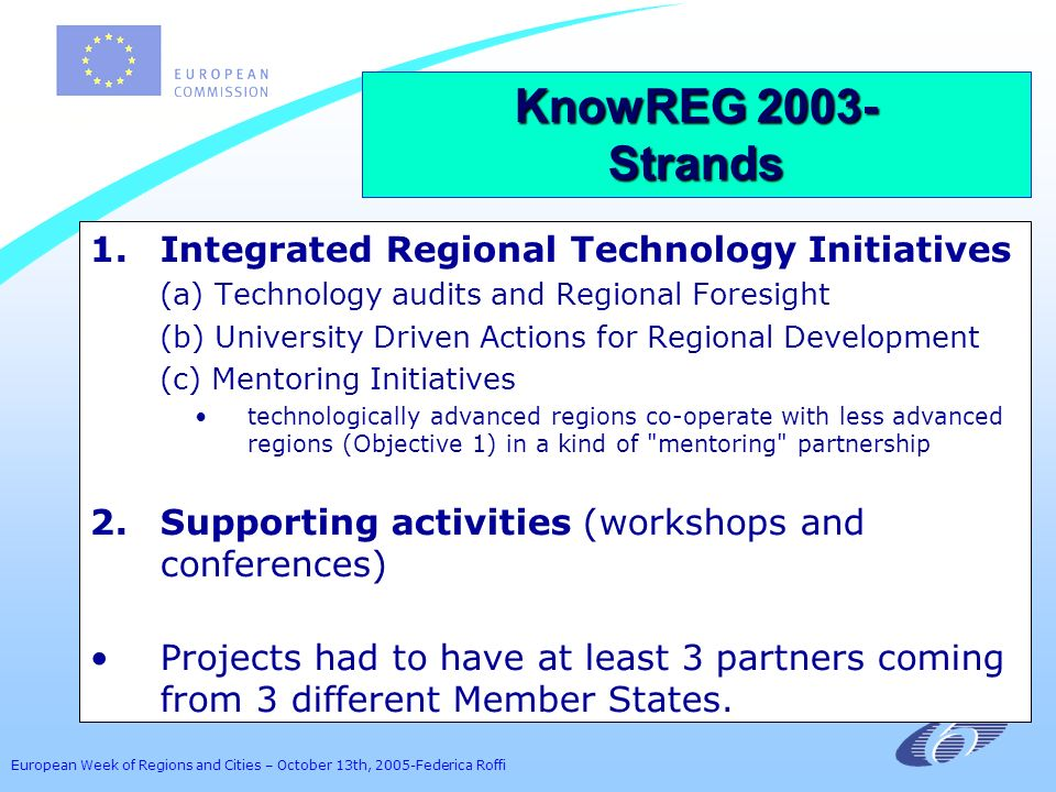 European Week of Regions and Cities – October 13th, 2005-Federica Roffi 1.Integrated Regional Technology Initiatives (a) Technology audits and Regiona