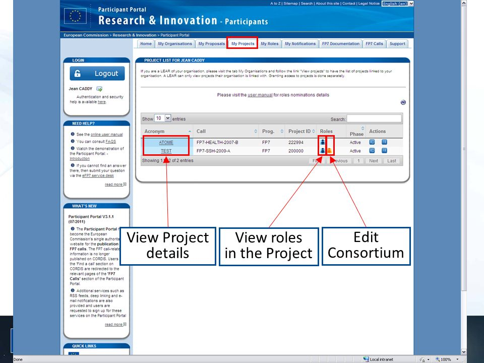 View Project details View roles in the Project Edit Consortium