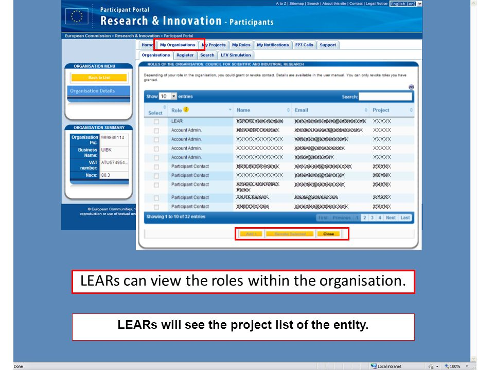 LEARs can view the roles within the organisation.