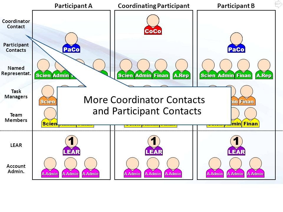 Coordinating ParticipantParticipant A LEAR 1 A.Admin LEAR 1 A.Admin Coordinator Contacts Participant Contacts LEAR Account Administrator Task Managers Team Members Team Mb Task M.