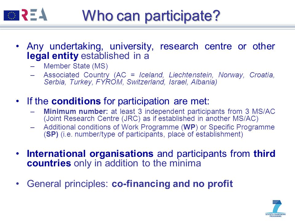 Who can participate? Any undertaking, university, research centre or other legal entity established in a –Member State (MS) –Associated Country (AC =