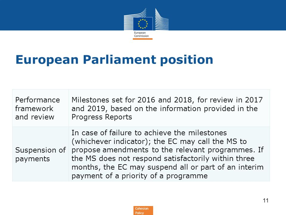 Cohesion Policy European Parliament position Performance framework and review Milestones set for 2016 and 2018, for review in 2017 and 2019, based on