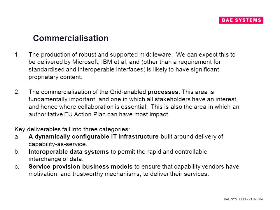 BAE SYSTEMS - 21 Jan 04 Commercialisation 1.The production of robust and supported middleware.