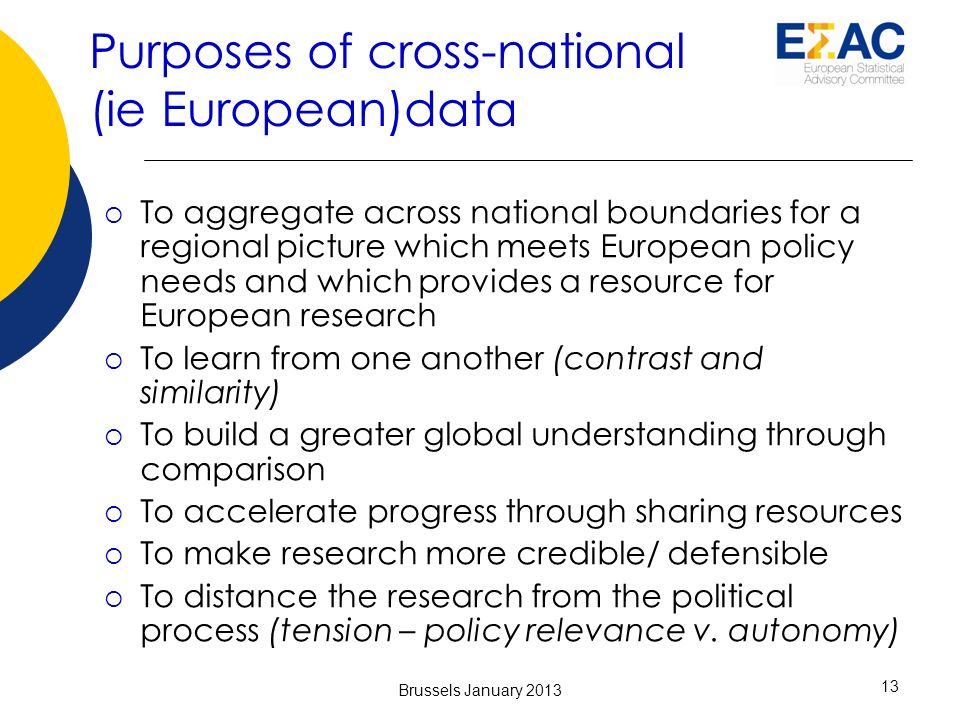 Purposes of cross-national (ie European)data To aggregate across national boundaries for a regional picture which meets European policy needs and which provides a resource for European research To learn from one another (contrast and similarity) To build a greater global understanding through comparison To accelerate progress through sharing resources To make research more credible/ defensible To distance the research from the political process (tension – policy relevance v.