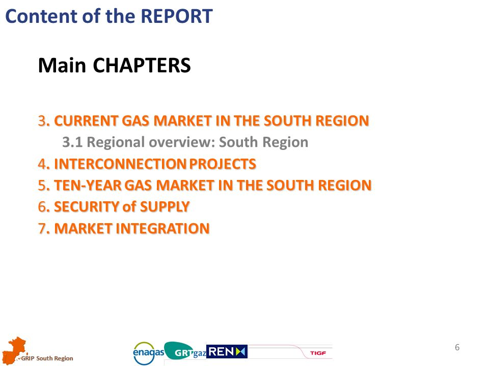 GRIP South Region 6 Content of the REPORT Main CHAPTERS 3.