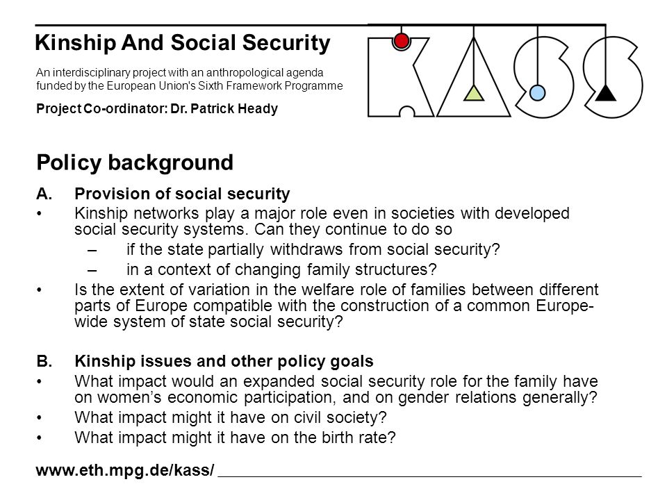 A.Provision of social security Kinship networks play a major role even in societies with developed social security systems. Can they continue to do so