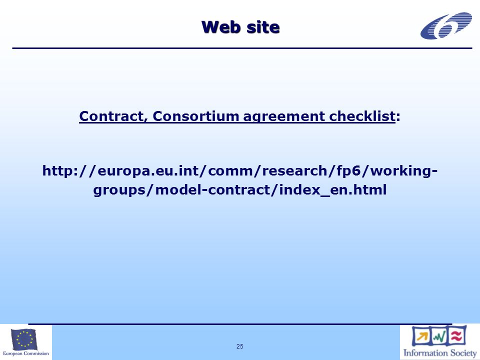 25 Web site Contract, Consortium agreement checklist:   groups/model-contract/index_en.html