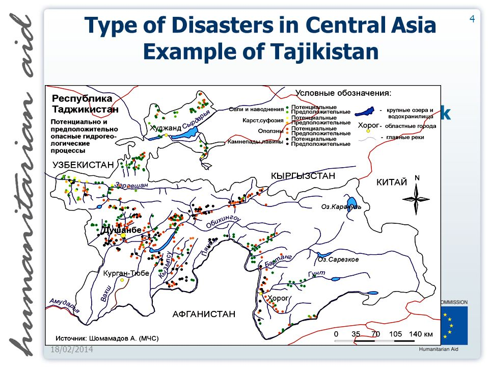 4 18/02/2014 Type of Disasters in Central Asia Example of Tajikistan Growing Focus on Natural Disaster Risk Increased economic cost of disasters Increased Economic cost of Natural Disasters Break on Economic and Social Development