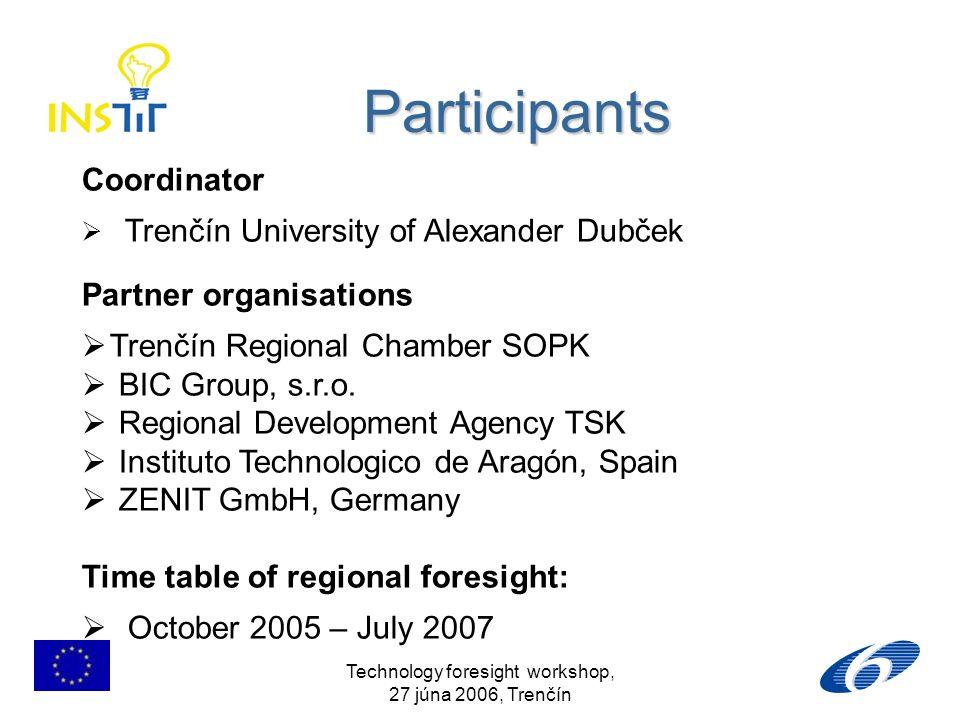 Technology foresight workshop, 27 júna 2006, Trenčín Participants Coordinator Trenčín University of Alexander Dubček Partner organisations Trenčín Reg