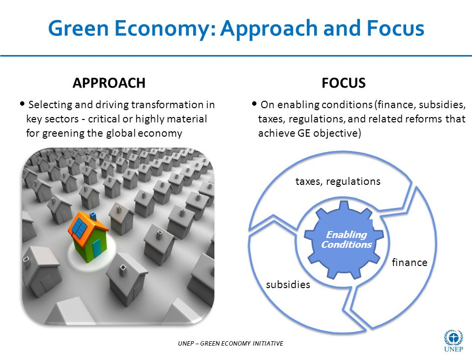 UNEP – GREEN ECONOMY INITIATIVE Selecting and driving transformation in key sectors - critical or highly material for greening the global economy Green Economy: Approach and Focus UNEP – GREEN ECONOMY INITIATIVE On enabling conditions (finance, subsidies, taxes, regulations, and related reforms that achieve GE objective) Enabling Conditions FOCUSAPPROACH taxes, regulations subsidies finance