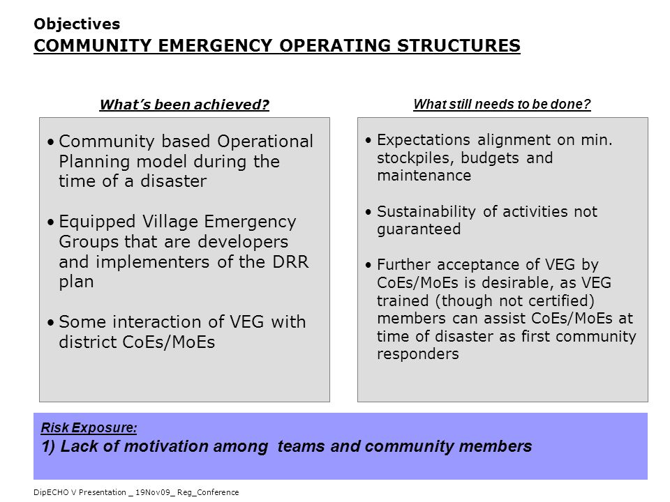 DipECHO V Presentation _ 19Nov09_ Reg_Conference Objectives COMMUNITY EMERGENCY OPERATING STRUCTURES Community based Operational Planning model during