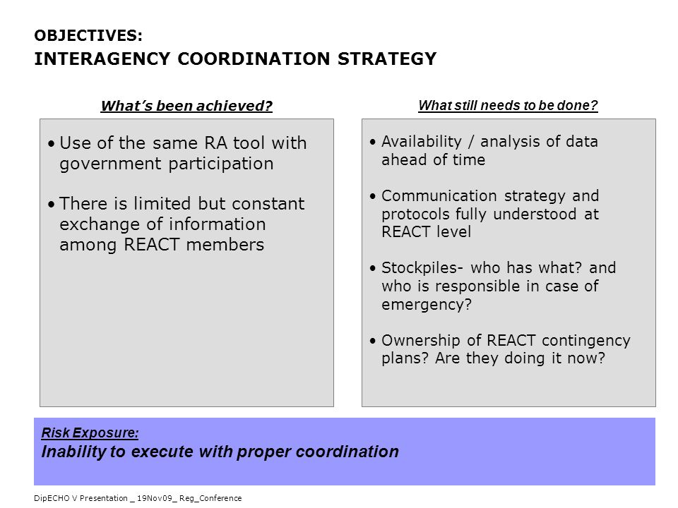 DipECHO V Presentation _ 19Nov09_ Reg_Conference OBJECTIVES: INTERAGENCY COORDINATION STRATEGY Use of the same RA tool with government participation T