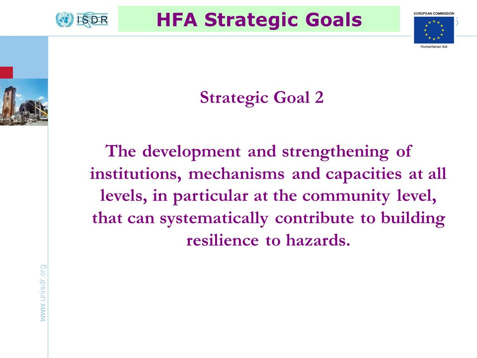 www.unisdr.org 16 HFA Priority IV Reduce the underlying risk factors Integration of DRR in strategies, programs and plans of development, reduction of poverty, and their implementation Integration of DRR in programs of climate change adaptation Global campaigns, their importance (DRR in education, safety of hospitals, etc.)