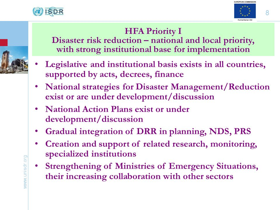 www.unisdr.org 19 National plans of preparedness and response at all levels, with reliance on various sectors Governments support the initiative for the Central Asia Regional Coordination Center for DR/DRR Regional coordination in Ferghana Valley REACT in Kyrgyzstan, Tajikistan HFA Priority V Strengthen disaster preparedness for effective response at all levels