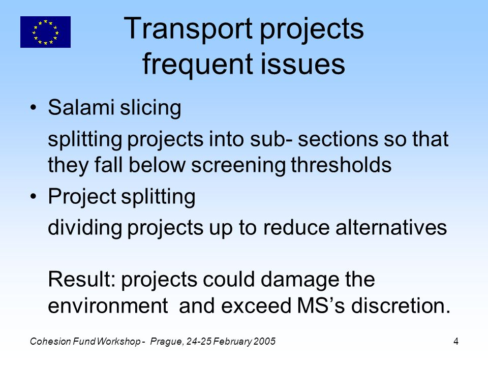 Cohesion Fund Workshop - Prague, 24-25 February 20055 Transport projects - tips Cumulative effects of projects must be considered: 1.in screening 2.in the environmental information (report) EIA must cover alternatives –addressed in the environmental information –included in the NTS –public consulted on them (but in future, SEA may encourage more radical choices to be explored).