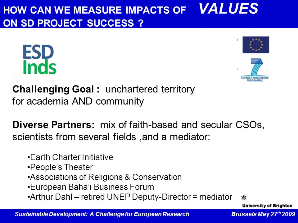 HOW CAN WE MEASURE IMPACTS OF VALUES ON SD PROJECT SUCCESS .