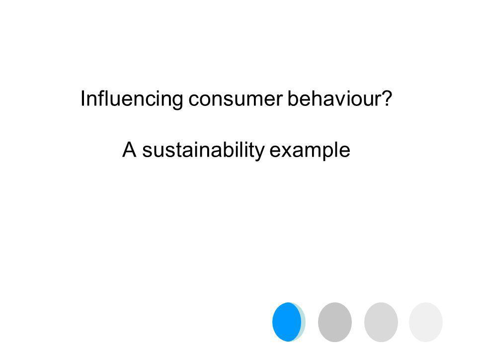 Influencing consumer behaviour A sustainability example