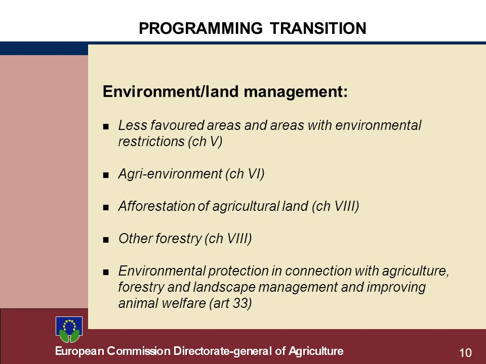 10 PROGRAMMING TRANSITION Environment/land management: n Less favoured areas and areas with environmental restrictions (ch V) n Agri-environment (ch VI) n Afforestation of agricultural land (ch VIII) n Other forestry (ch VIII) n Environmental protection in connection with agriculture, forestry and landscape management and improving animal welfare (art 33)