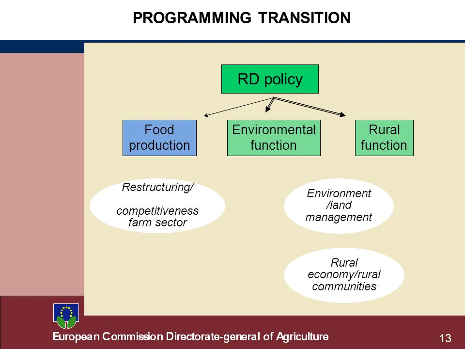 13 PROGRAMMING TRANSITION RD policy Food production Environmental function Rural function Restructuring/ competitiveness farm sector Environment /land management Rural economy/rural communities