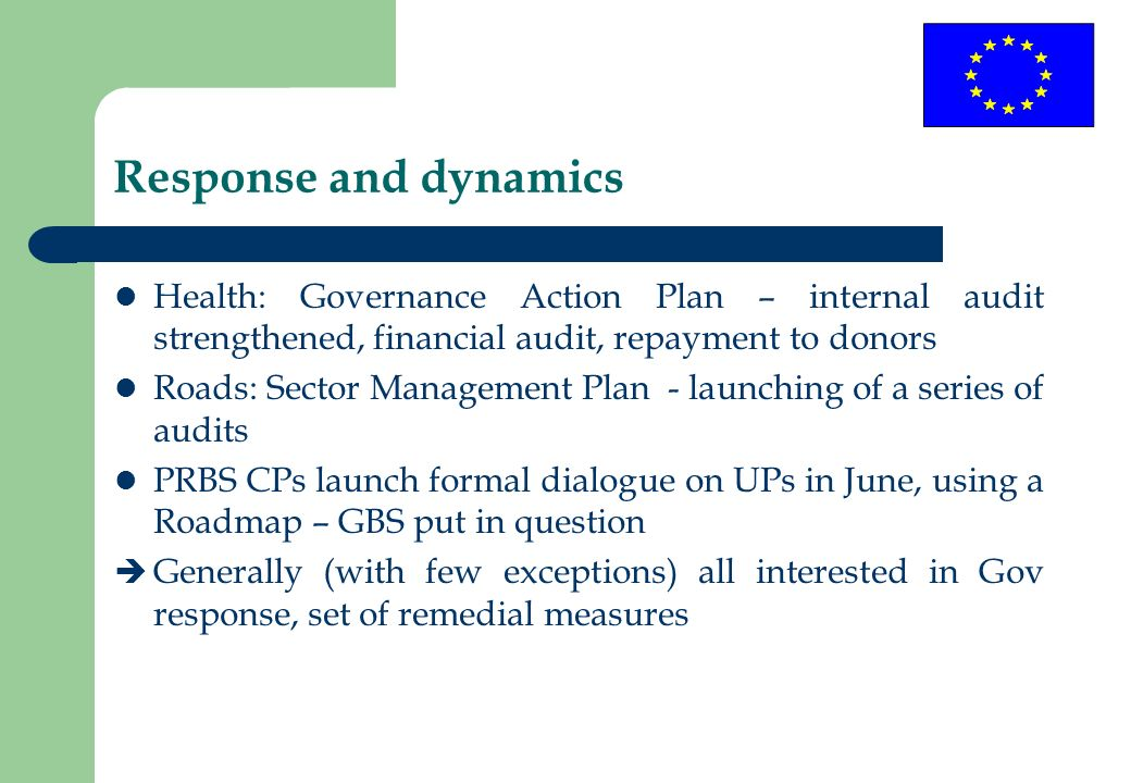 Response and dynamics Health: Governance Action Plan – internal audit strengthened, financial audit, repayment to donors Roads: Sector Management Plan
