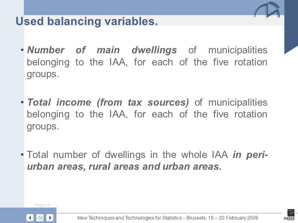 Page 24 New Techniques and Technologies for Statistics - Brussels, 18 – 20 February 2009 Used balancing variables. Number of main dwellings of municip