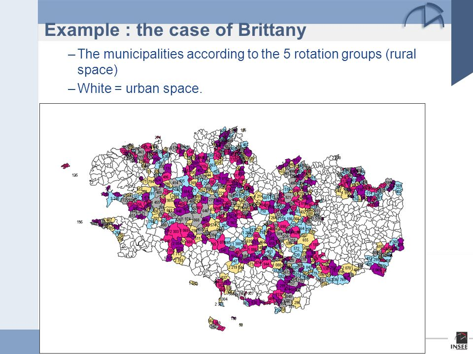 Page 7 New Techniques and Technologies for Statistics - Brussels, 18 – 20 February 2009 Example : the case of Brittany –The municipalities according to the 5 rotation groups (rural space) –White = urban space.
