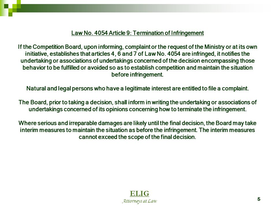 6 The Competition Boards Position on Article 9 There are no clear signals in practice.