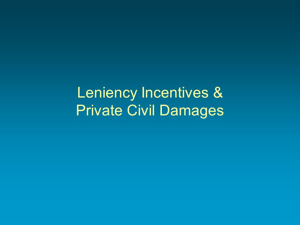 Leniency Incentives & Private Civil Damages