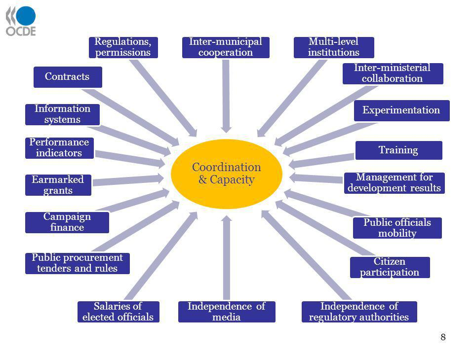 Coordination & Capacity Performance indicators Information systems Earmarked grants Contracts Campaign finance Salaries of elected officials Independe